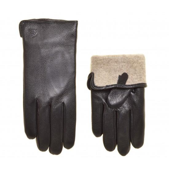 Перчатки для сенсорных экранов мужские кожа сибирского оленя, подкладка 100% шерсть
