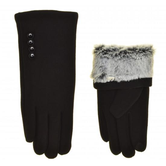 Перчатки для сенсорных экранов женские хлопок, подкладка кролик (искусственный)