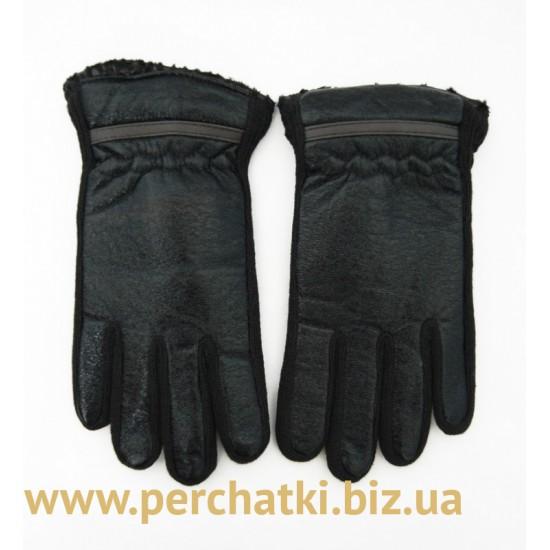 Перчатки подростковые шерсть и кожзам, подкладка плюш