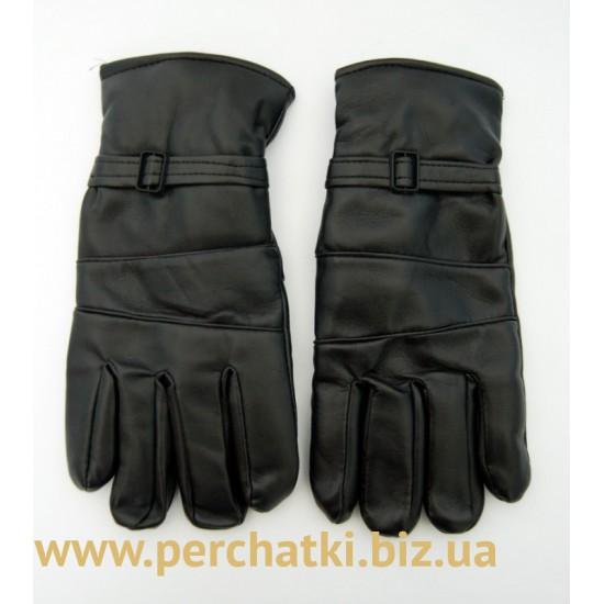 Перчатки мужские кожзам, подкладка плюш